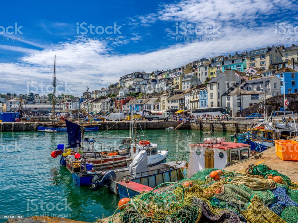 Colorful seaside village of Brixham Devon stock photo