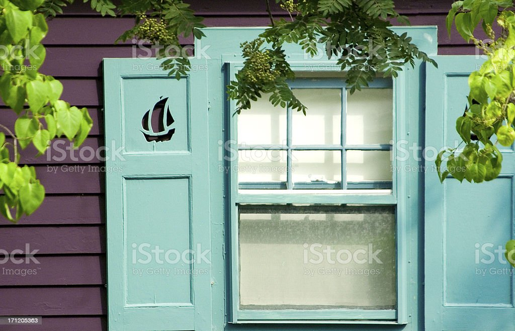 Colorful seaside window stock photo
