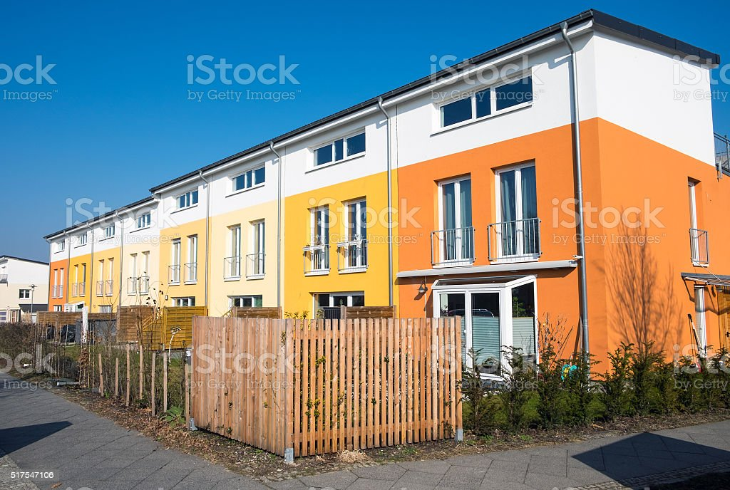 Colorful serial housing in Berlin stock photo