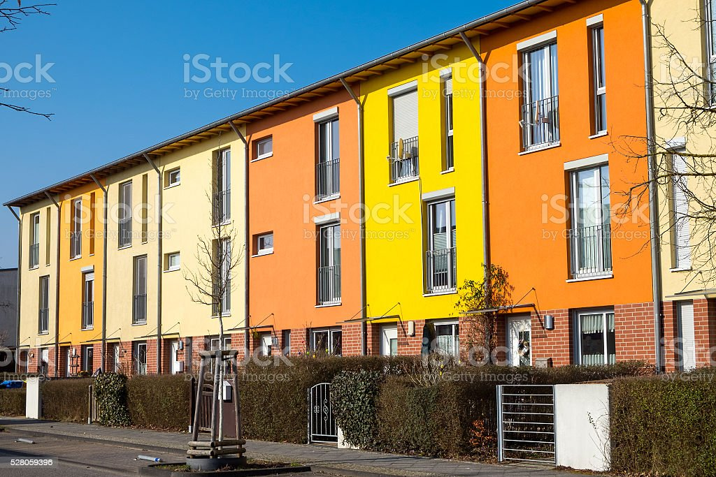 Colorful serial housing near Berlin stock photo