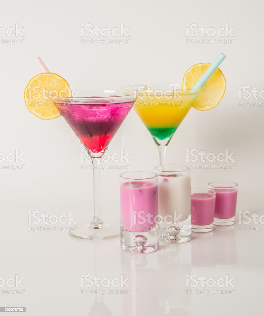 Colorful set of drinks, color drink decorated with fruit, color shots stock photo