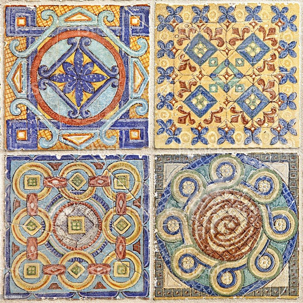 Colorful set of ornamental tiles stock photo
