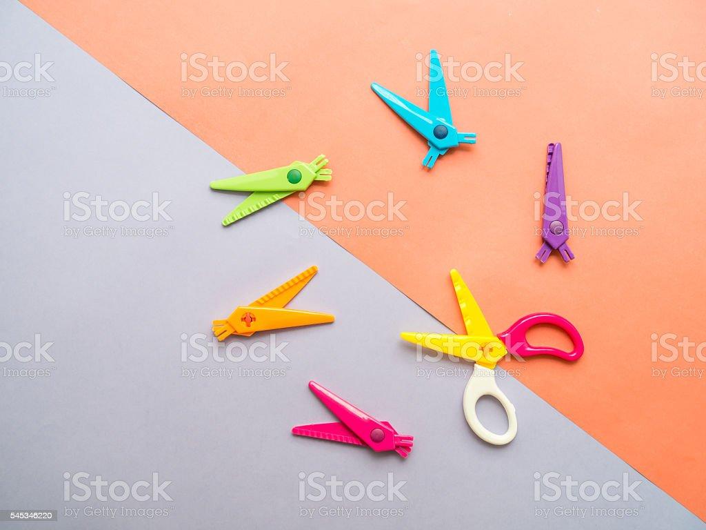 Colorful set of zigzag changable art scissors stock photo