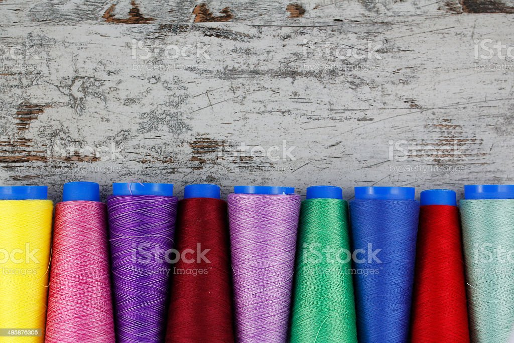 Colorful sewing coils stock photo