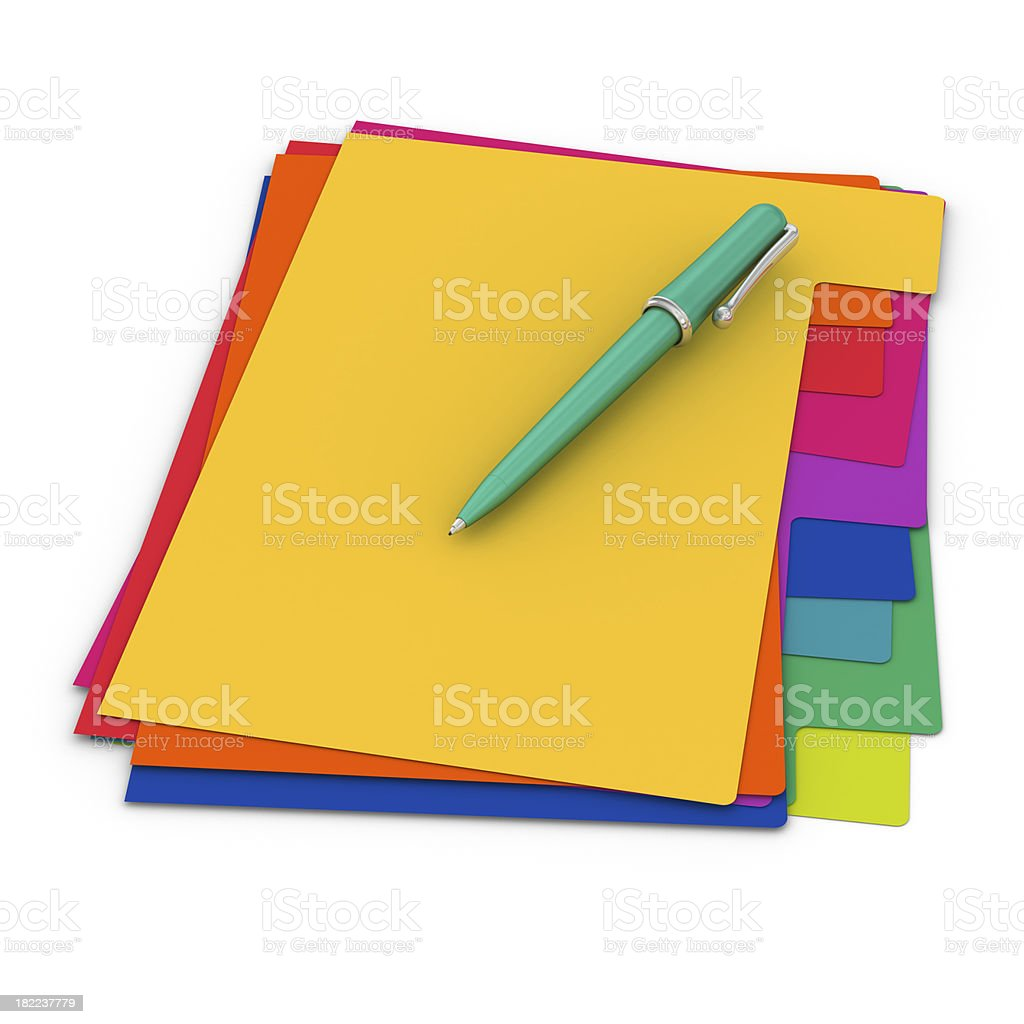 Colorful Sheets of Paper and Ballpoint Pen royalty-free stock photo