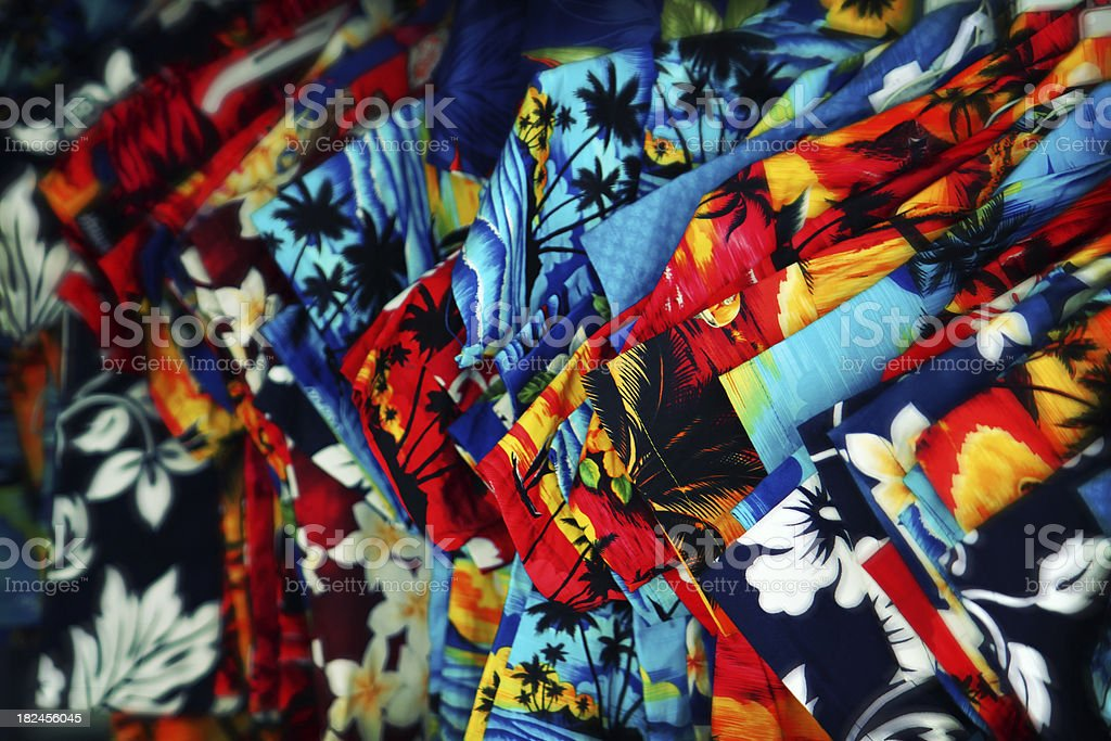 Colorful shirts in Traditional Hawaii textiles Background - effe stock photo