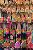 Colorful shoes on bazar in Mumbai, India
