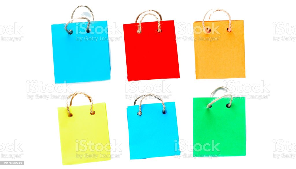 Colorful shopping bags isolated over white stock photo