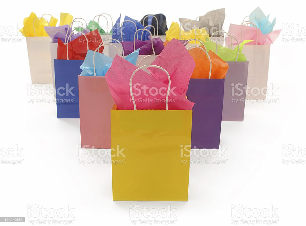 Colorful Shopping Bags on White royalty-free stock photo