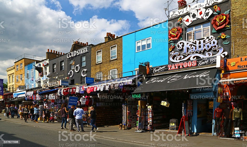 Colorful shops in Camden High Street, London stock photo