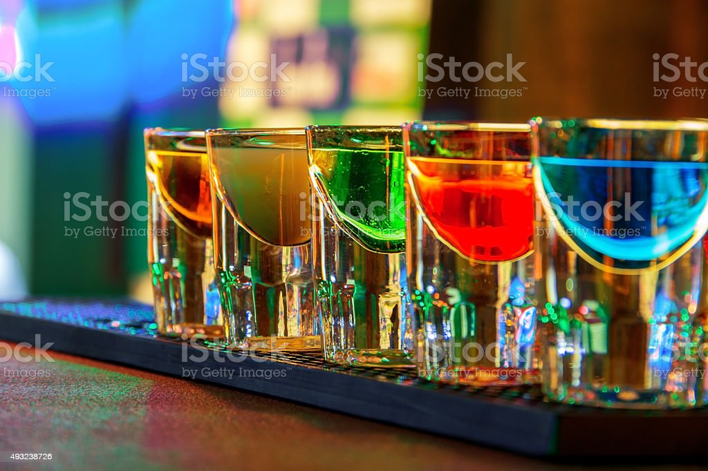 Colorful shot drinks stock photo