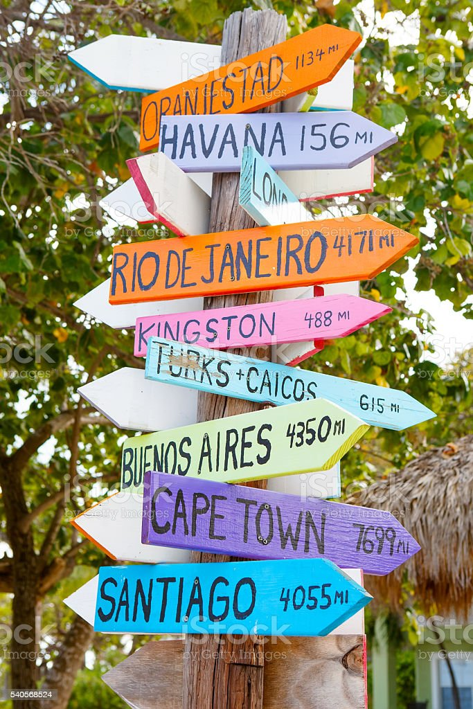 colorful sign points the way to the different destinations stock photo