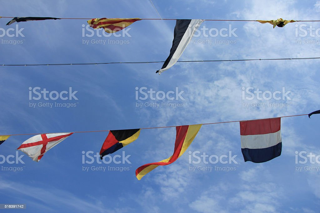 Colorful signal flags stock photo