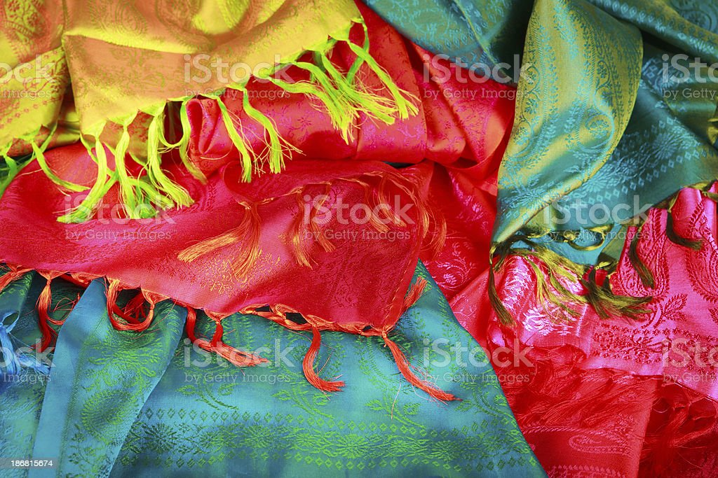 Colorful silk fabrics royalty-free stock photo