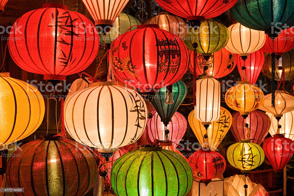 Colorful silk lanterns for sale in Hoi An city, Vietnam stock photo