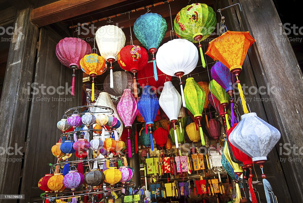 Colorful Silk Lanterns in Asia royalty-free stock photo