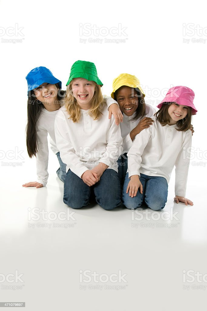 Colorful Sisters Mixed Ethnic Descent Positive Attitude royalty-free stock photo