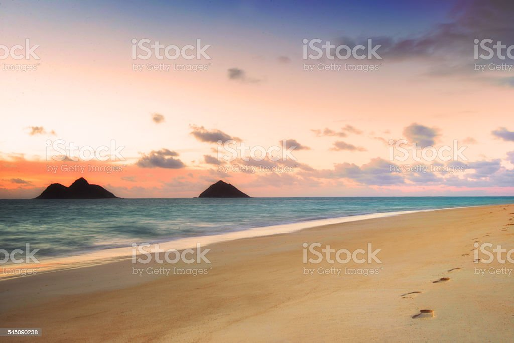 Colorful skies just before sunrise stock photo