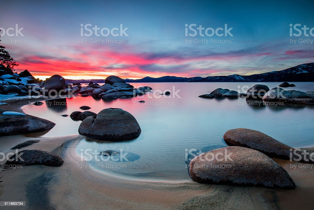 Colorful sky at Lake Tahoe stock photo