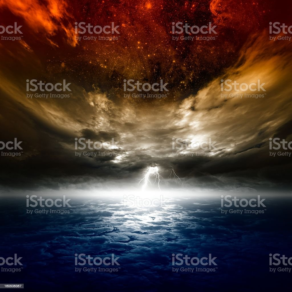 Colorful sky during a lightning strike royalty-free stock photo
