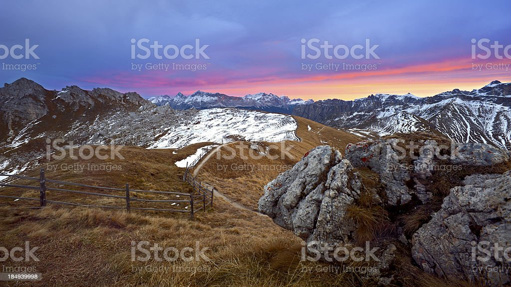 Colorful sky in the mountains stock photo