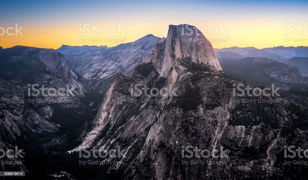 Colorful Sky over Half Dome stock photo