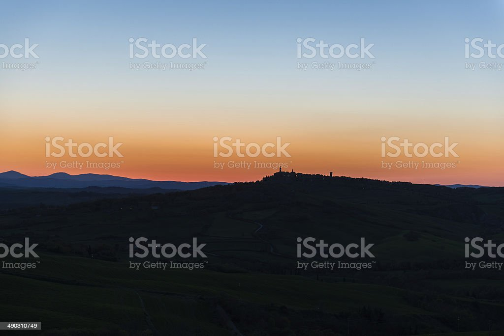 Colorful Sky Over Val d'Orcia at Sunset royalty-free stock photo