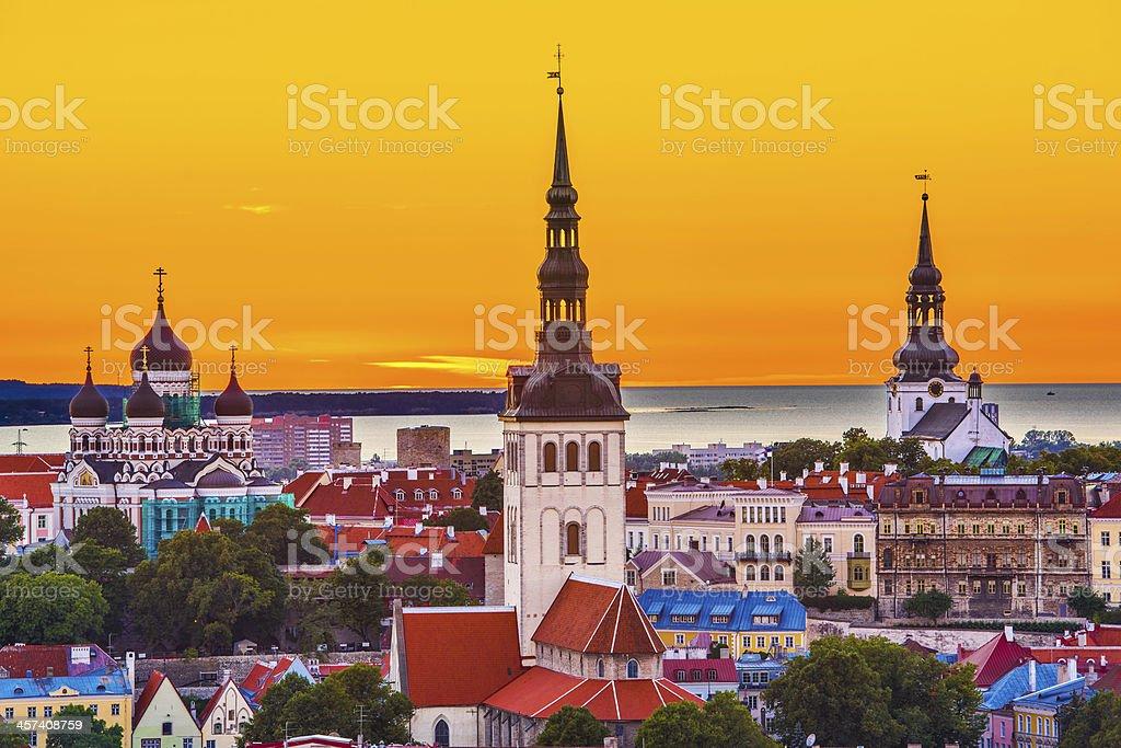Colorful Skyline in Tallinn, Estonia stock photo