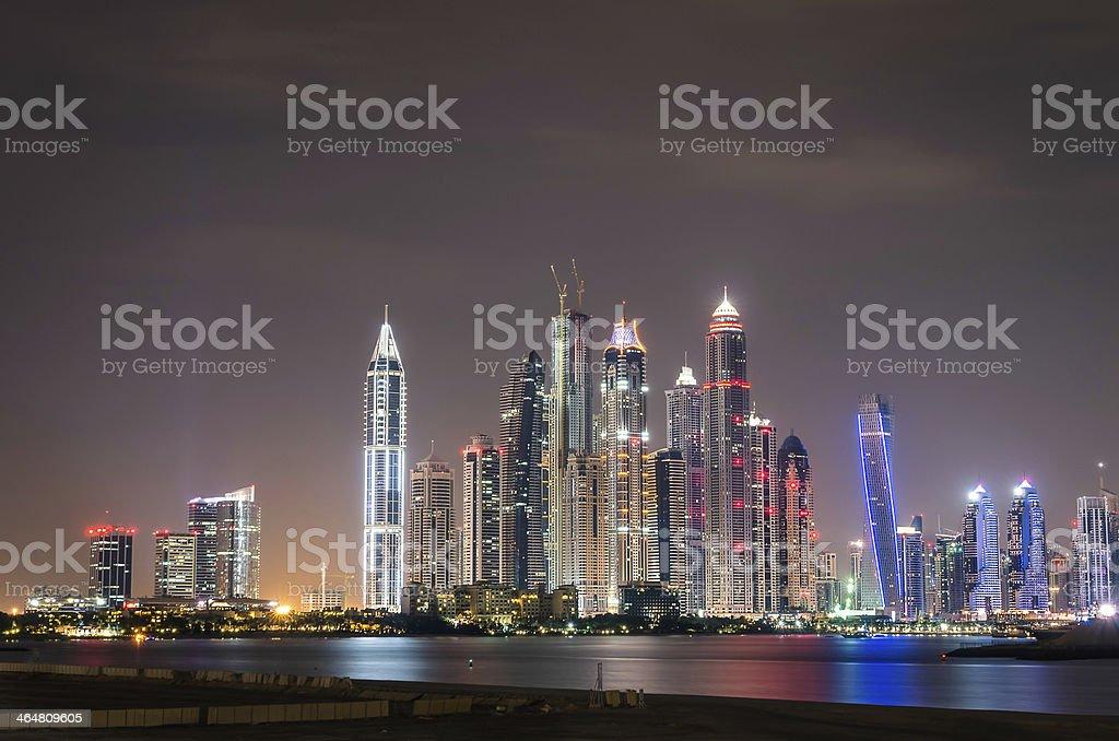 Colorful skyline view of Dubai Marina at night royalty-free stock photo