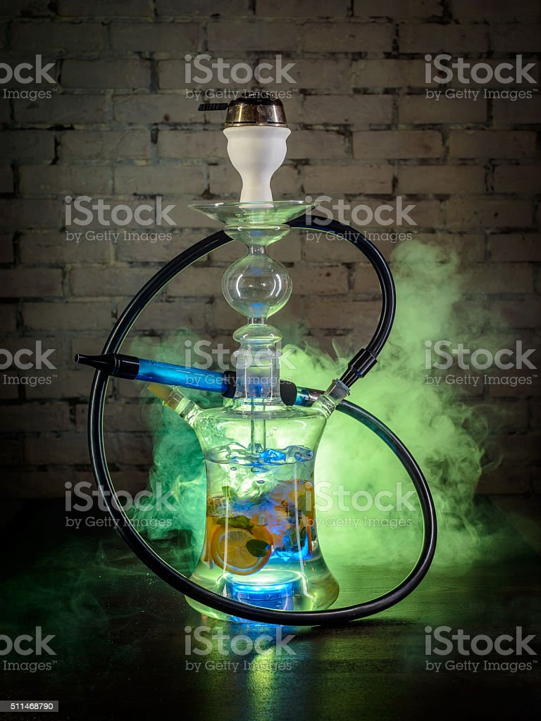 Colorful smoking hookah stock photo