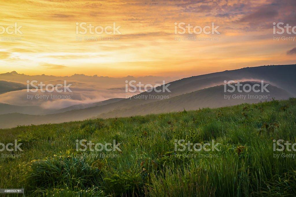 Colorful Smoky Mountain Sunrise stock photo
