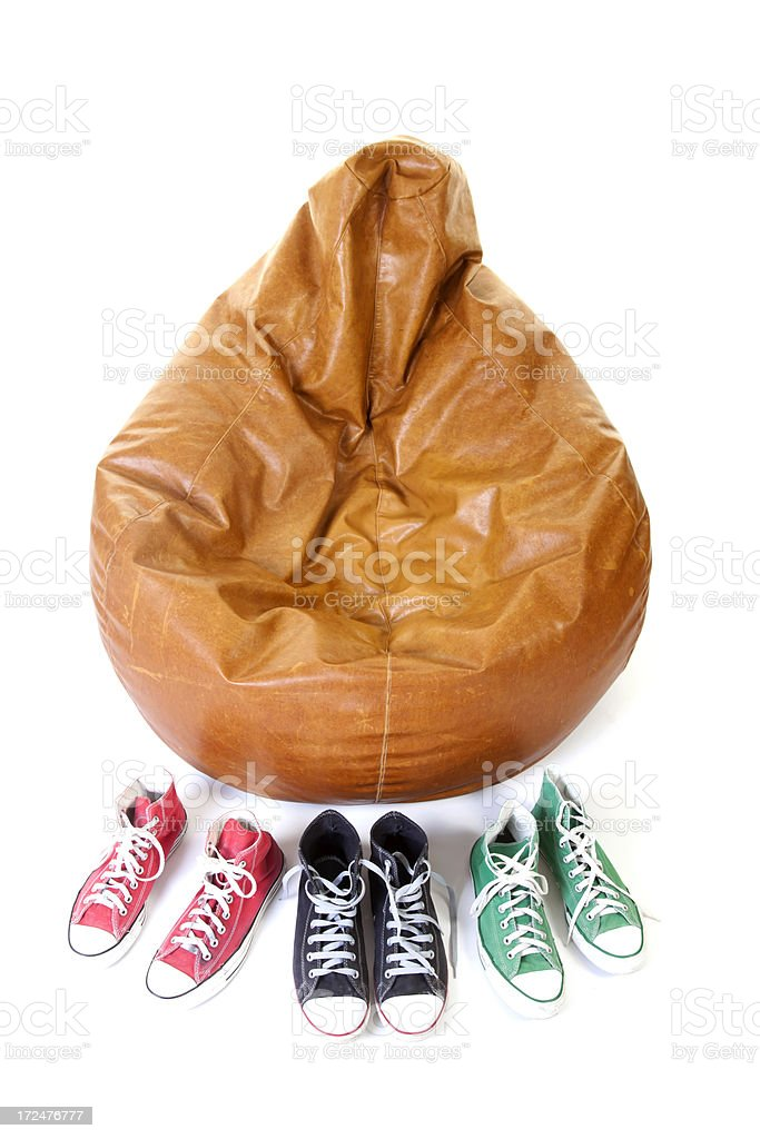 colorful sneakers with bean bag royalty-free stock photo