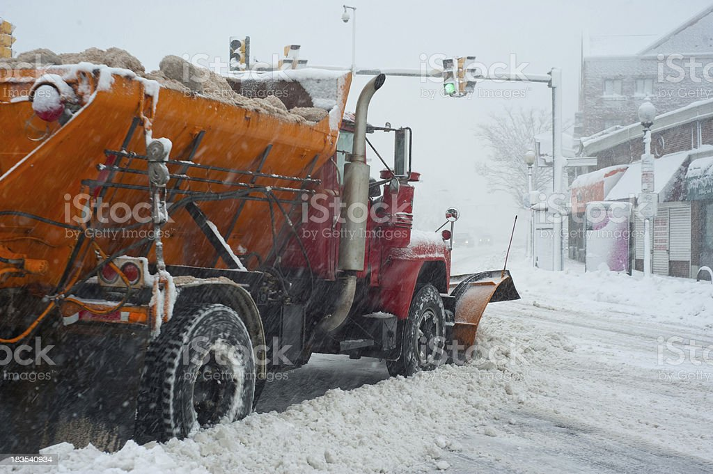 Colorful Snowplow / Sander Working royalty-free stock photo