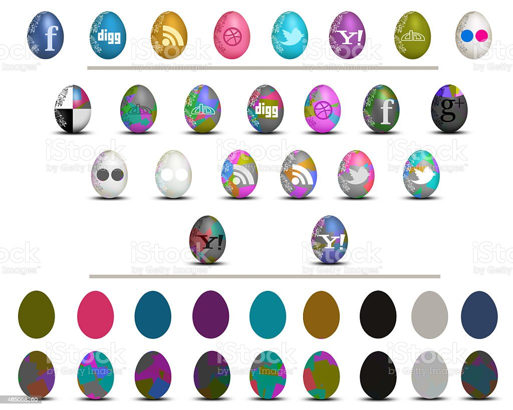 Colorful social media Easter eggs icon set stock photo