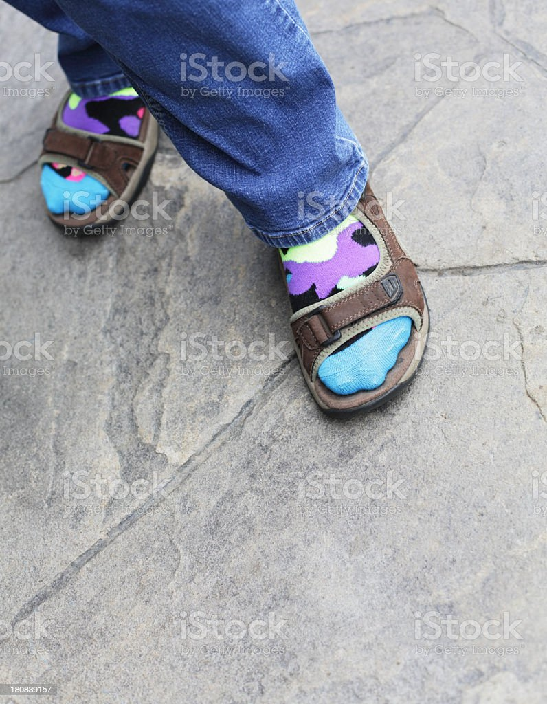 Colorful Socks and Sandals royalty-free stock photo