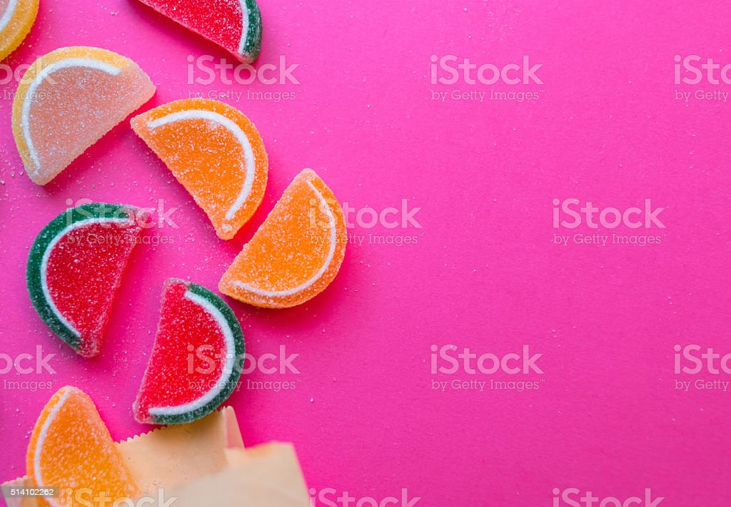 Colorful soft jellies oranges, watermelons and lemon stock photo