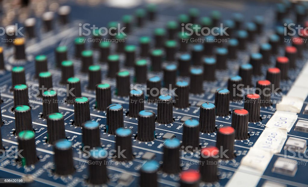Colorful sound mixer. Texture design. amplifier equipment stock photo