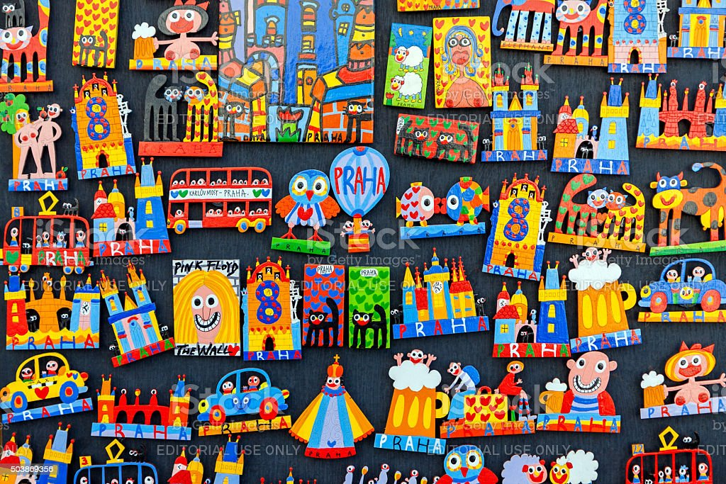 Colorful souvenir magnets in Prague stock photo