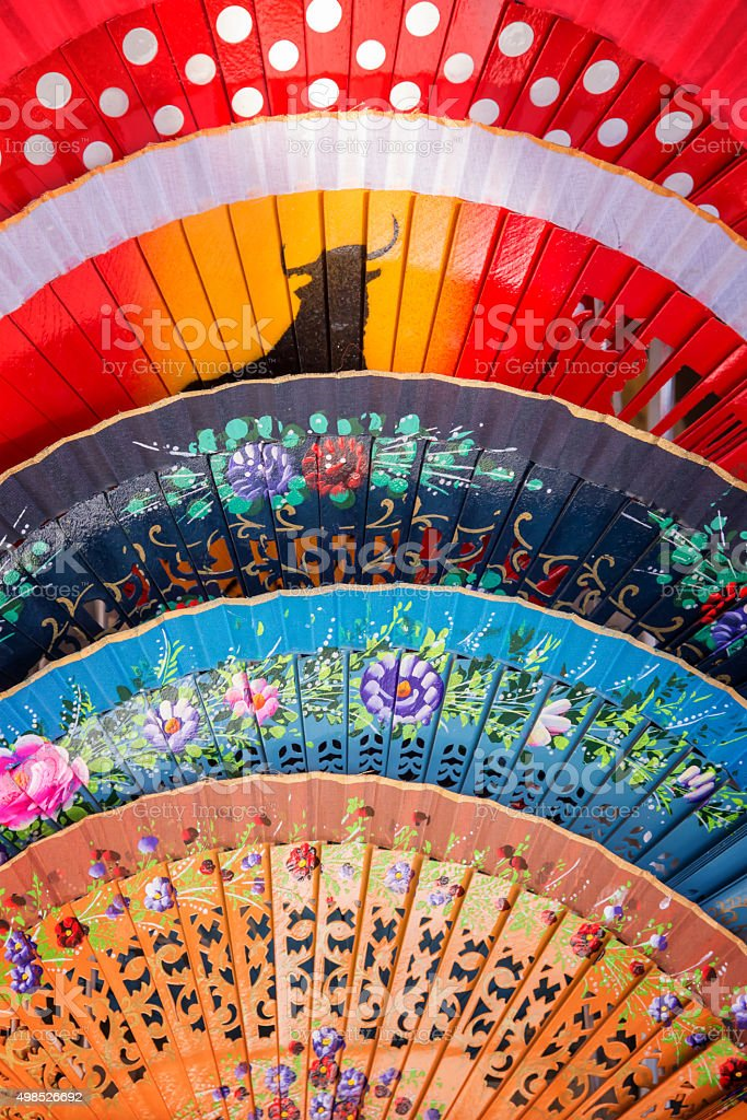 Colorful spanish fans in Andalusia stock photo