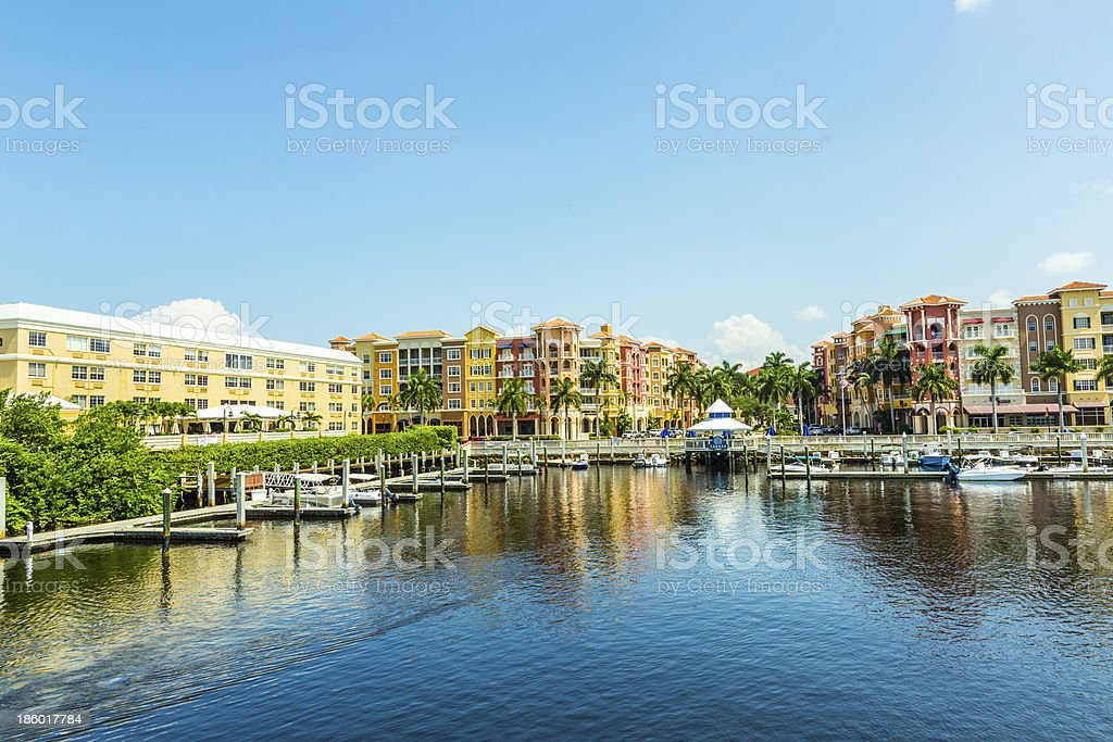 Colorful Spanish influenced buildings overlooking the water stock photo