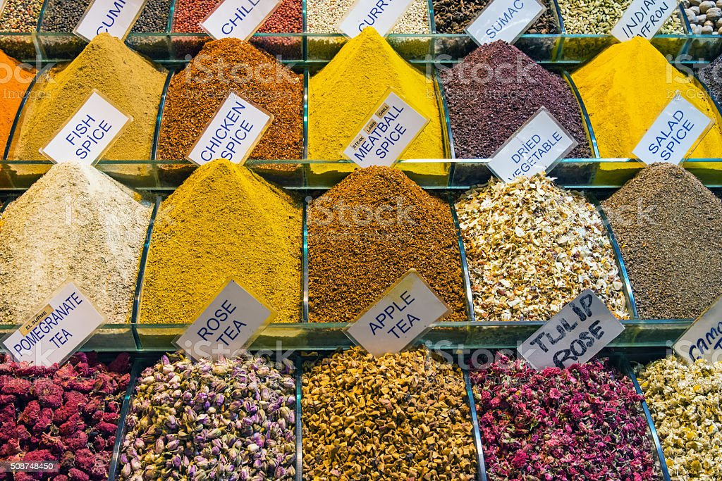 Colorful spices at the Spice Market in Istanbul stock photo