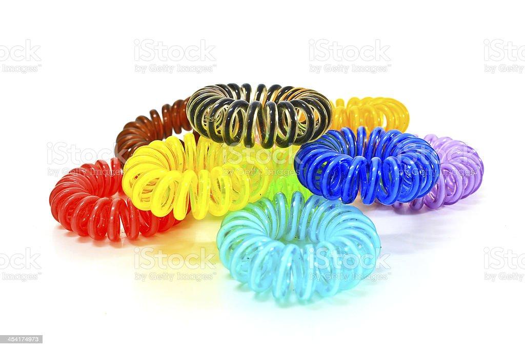 Colorful Spiral Elastic Hair Ties stock photo