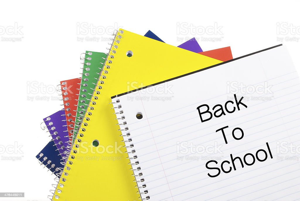 Colorful Spiral Notebooks with Back To School royalty-free stock photo