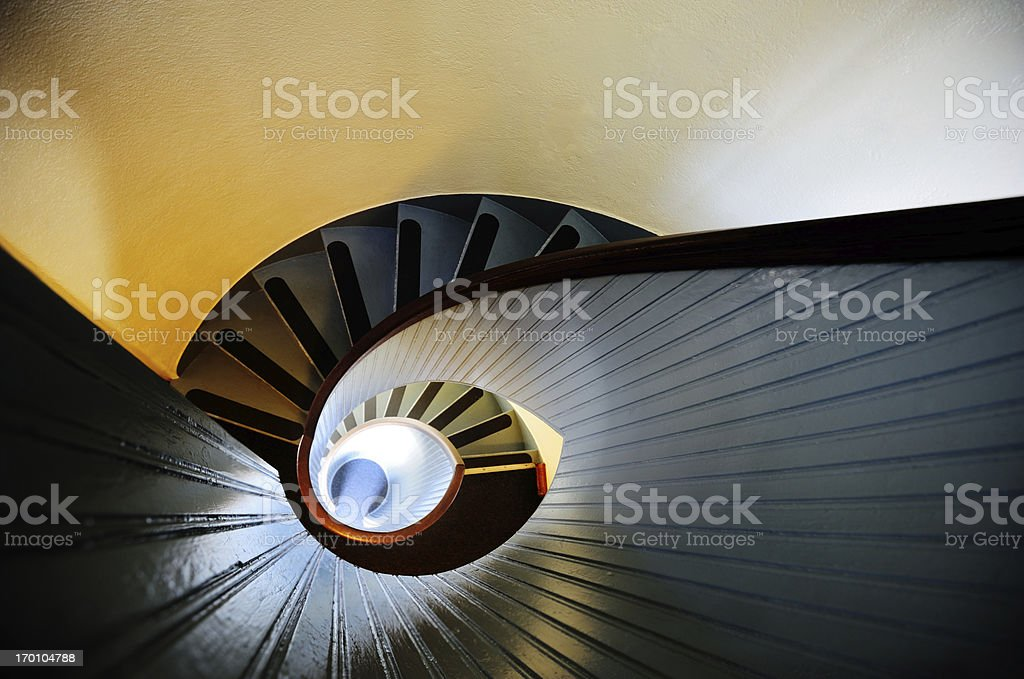 Colorful spiral staircase, lighthouse stock photo