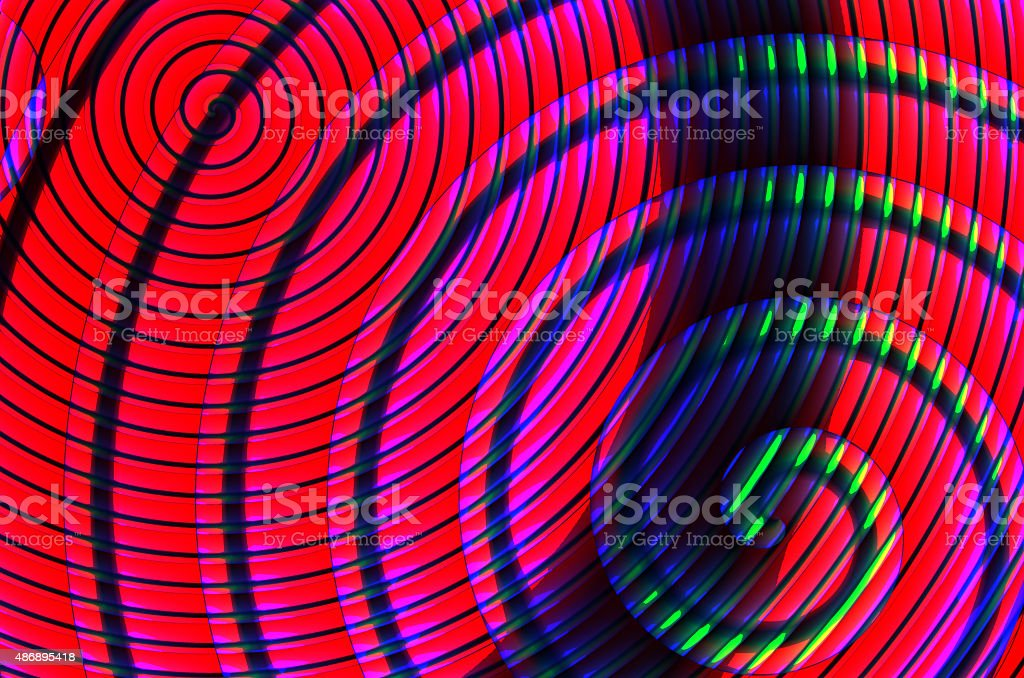 Colorful spirals on a dark background vector art illustration