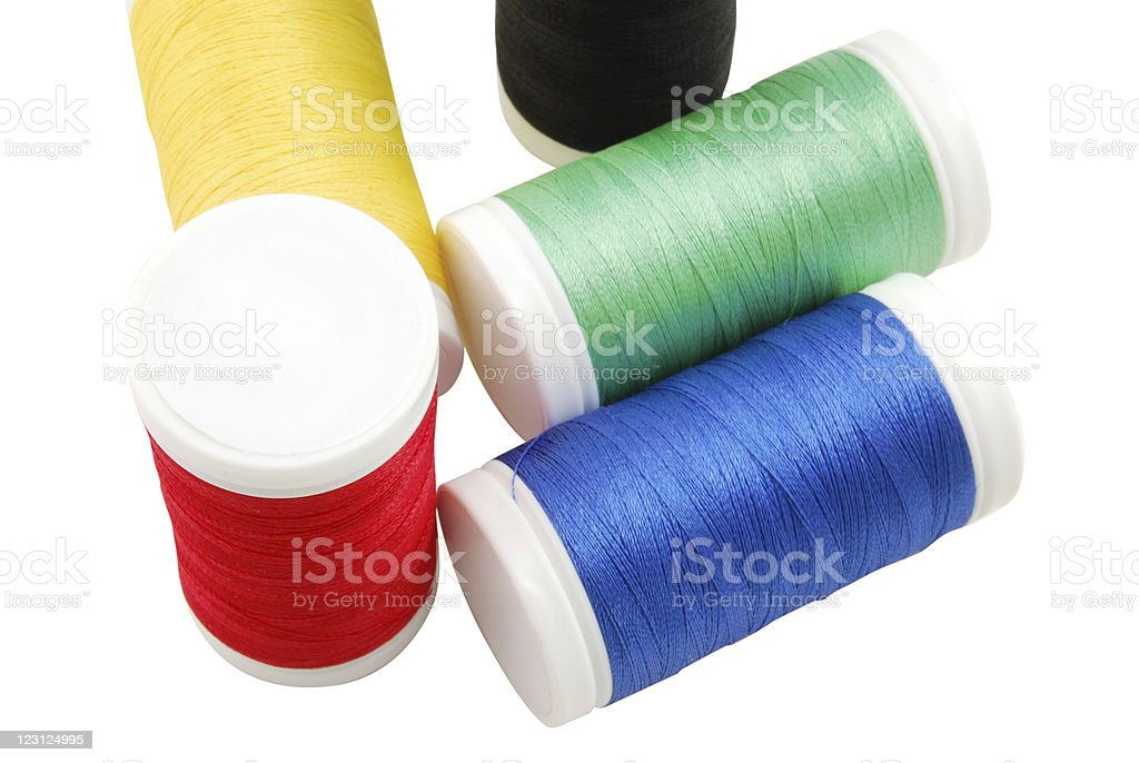 Colorful Spools of Sewing Threads stock photo