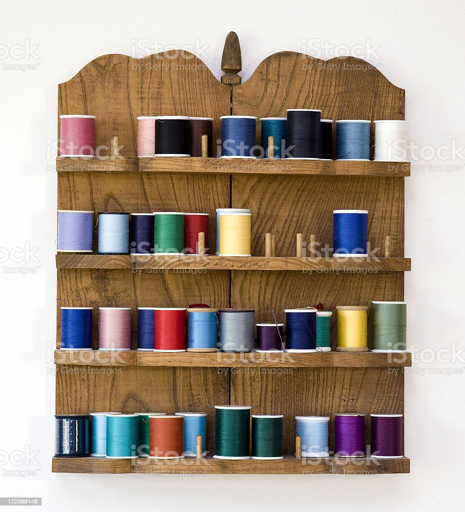 colorful spools of thread NOT isolated stock photo