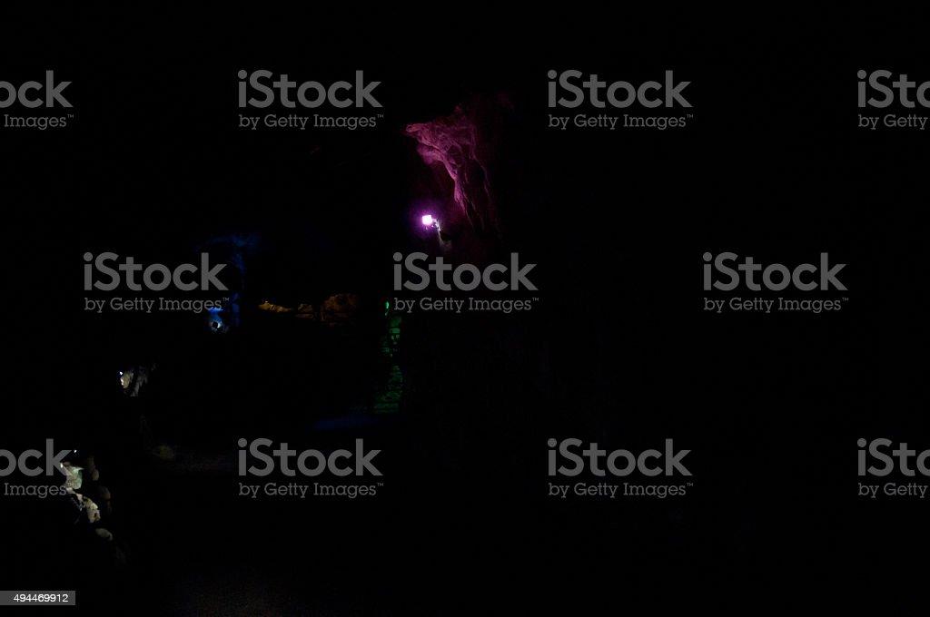 colorful spot lights in dark black stock photo