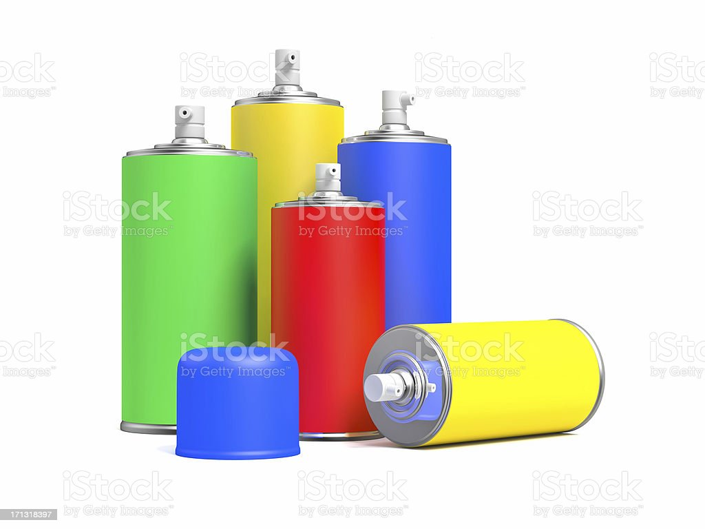 Colorful Spray Cans royalty-free stock photo