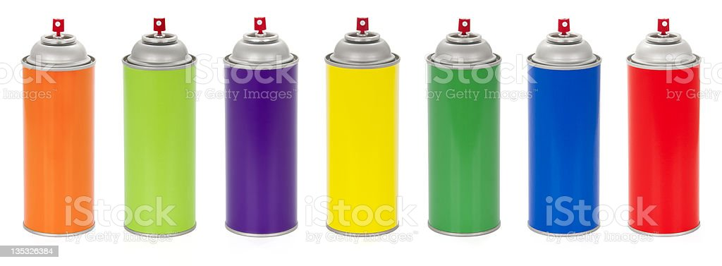 Colorful Spray Paint Cans royalty-free stock photo